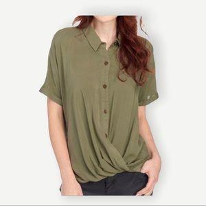 BCBGeneration Sz XXS NWOT Olive Green Twist Hem Button Up Top Oversized